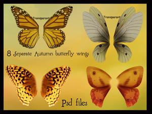 psd autumn butterfly wings set