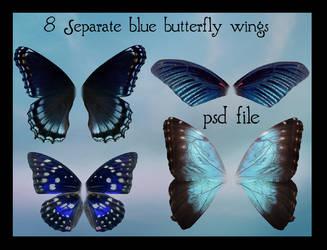 psd blue butterfly wings set by Adaae-stock