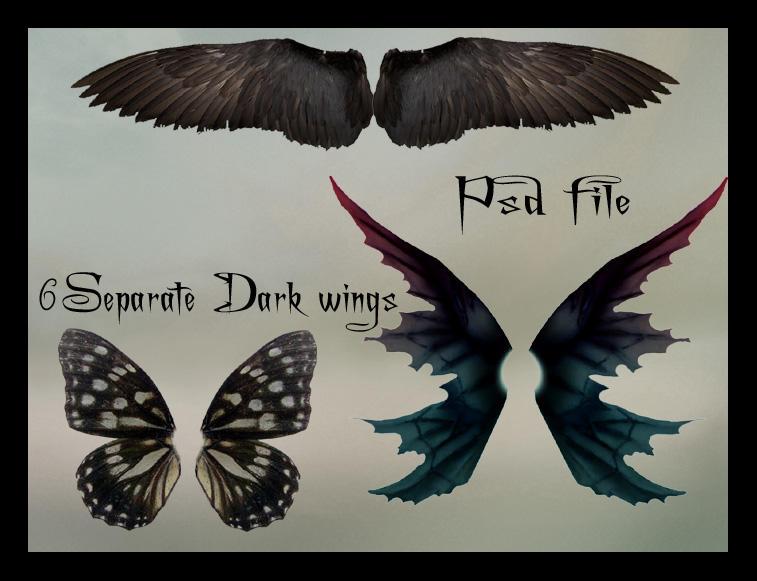 PSD Dark Wings Set Psd_dark_wings_set_by_Adaae_stock