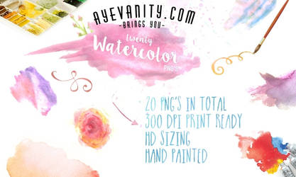 20 Hand painted Watercolor PNG's (Clipart)
