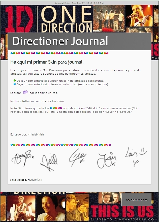 This is us One Direction Journal skin by LadyBritish