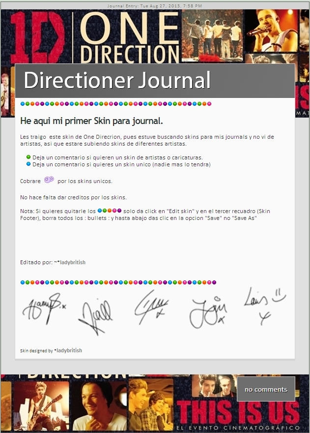 This is us One Direction Journal skin