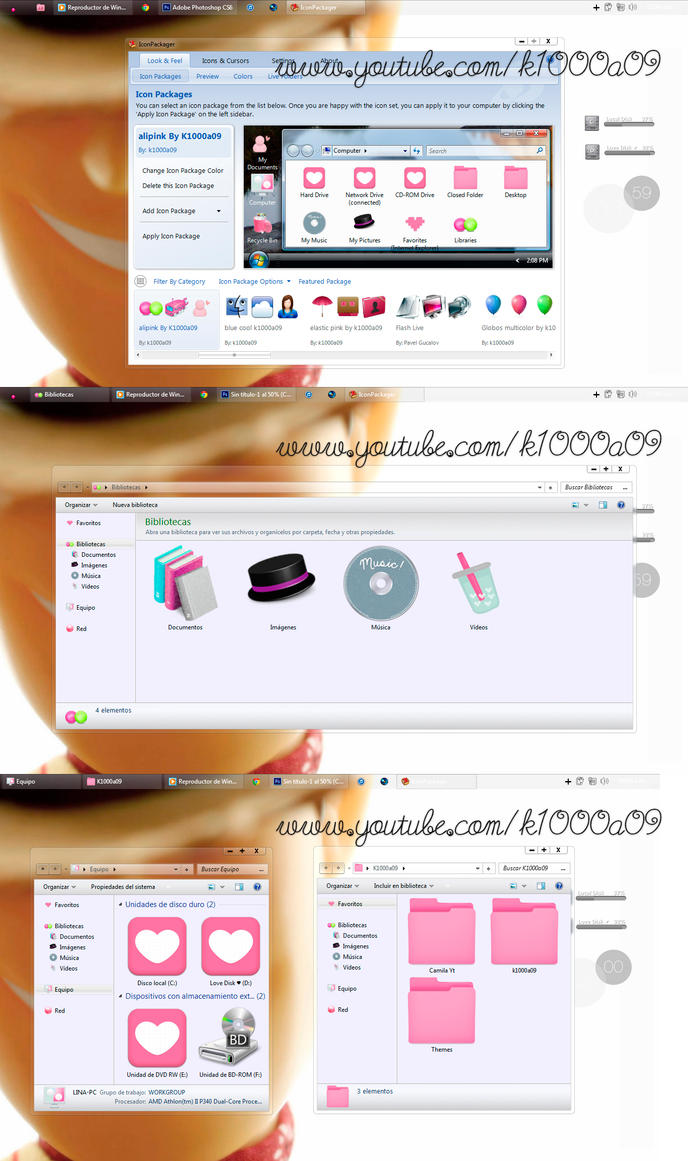 Alipink {k1000a09} theme Iconpackager by k1000adesign