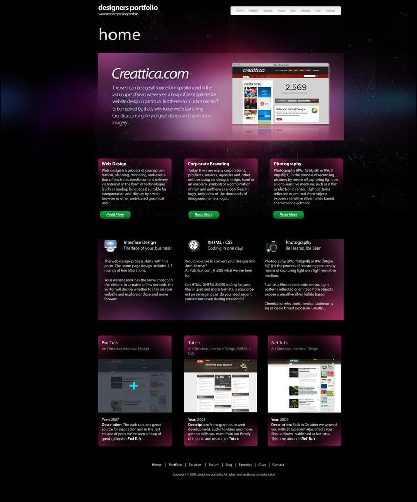 Designers Portfolio - FREE PSD by Scyllastudio