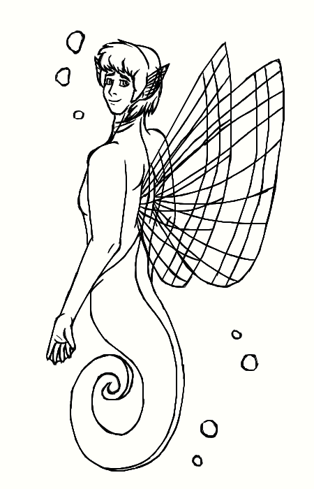 Lineart: Freddy the sea horse merboy by Copanel-CP