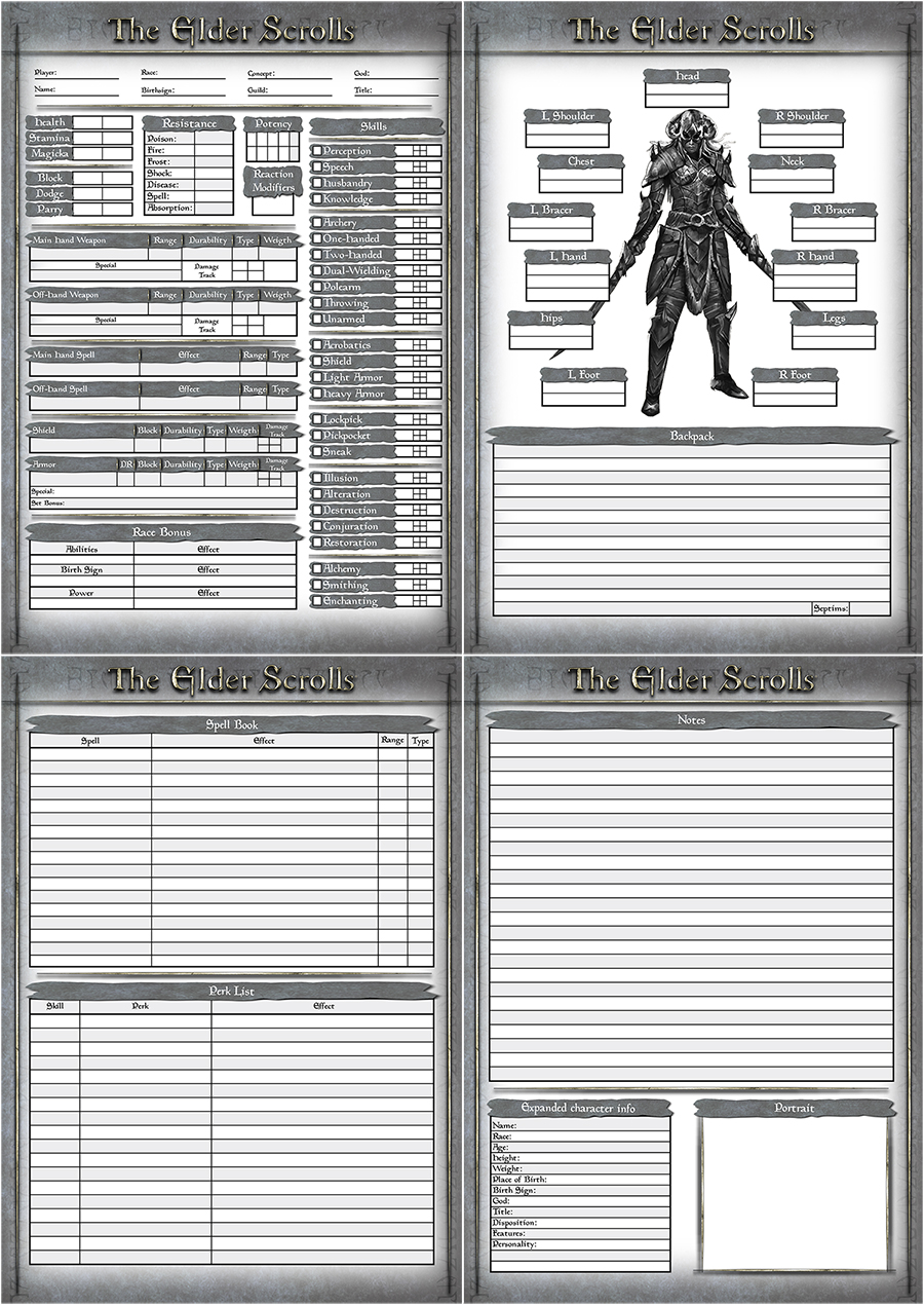 Character Design Quarterly Pdf Download : Elder scrolls character sheet by otto v on deviantart