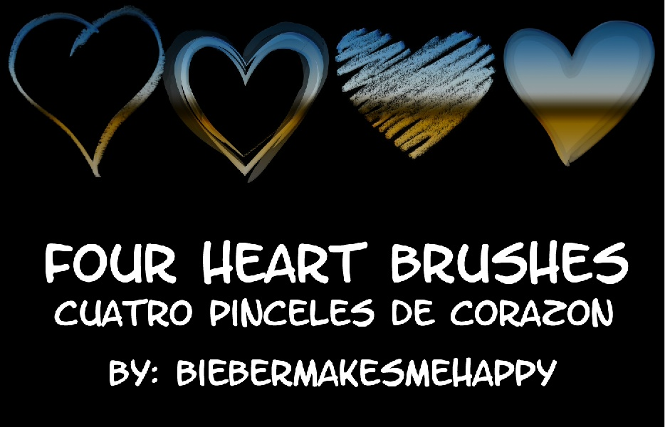 Four Heart Brushes