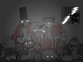 Watching a Scary Movie at Night