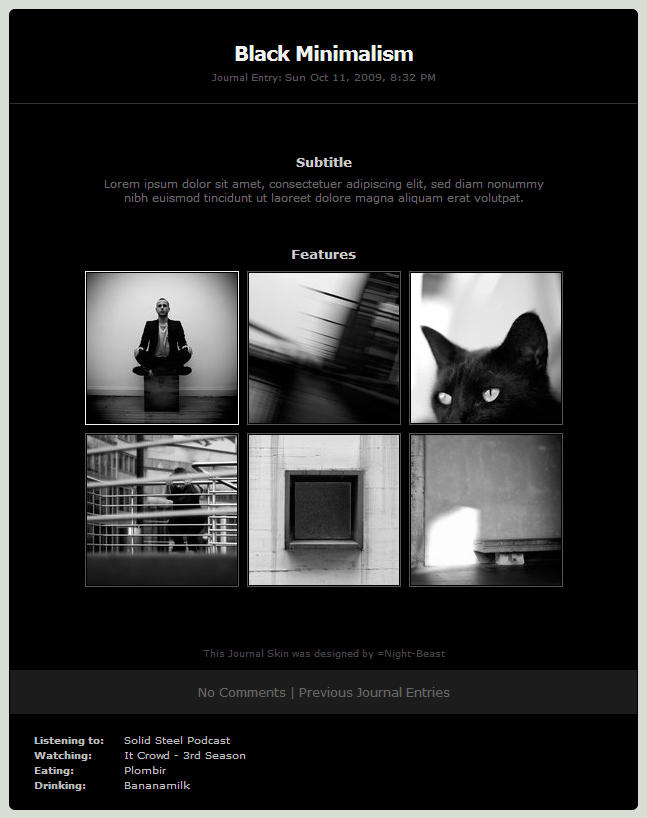 Black Minimalism Journal Skin by Night-Beast