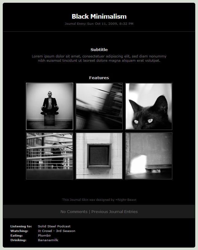 Black Minimalism Journal Skin by Night-Beast
