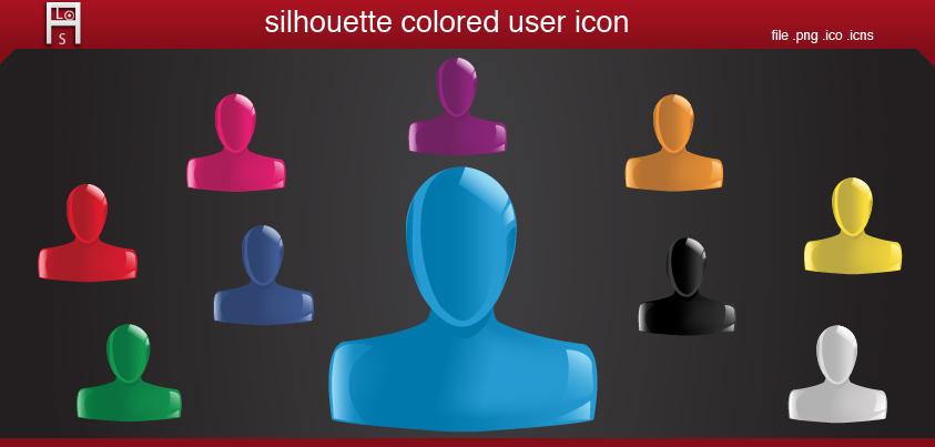 silhouette colored user icon by AliouStudio