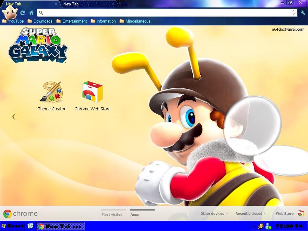 Google chrome themes yellow - N64chick 4 0 Super Mario Galaxy Google Chrome Theme