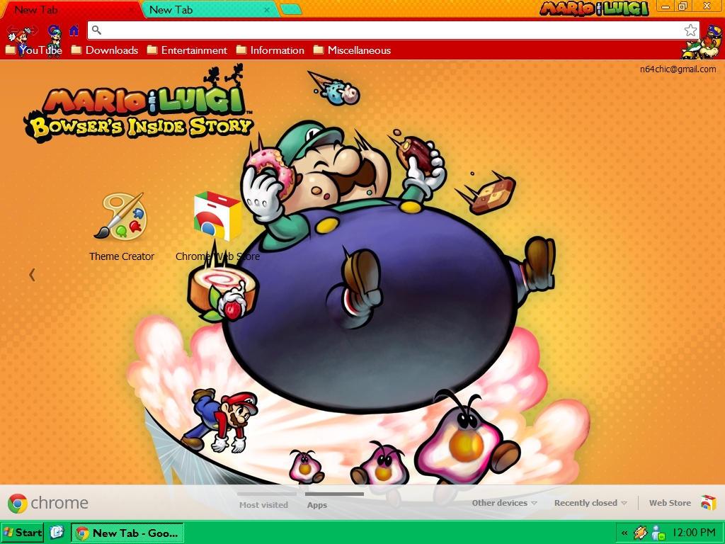 Google chrome themes video games - N64chick 1 0 Mario And Luigi Bis Google Chrome Theme