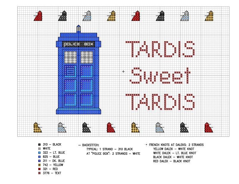 Схемы вышивки тардис