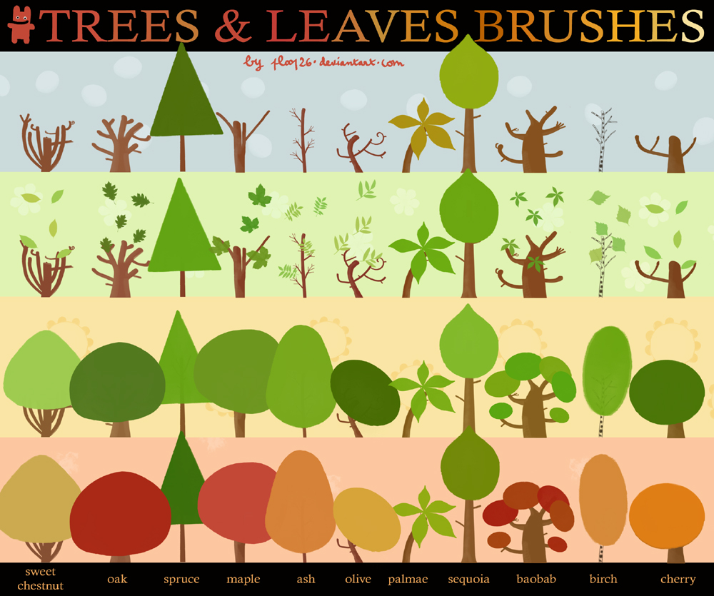 Trees and leaves brushes
