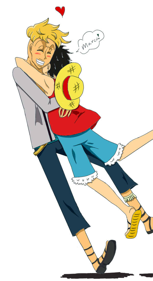 Luffy and Marco: Embrace by TheMillionareWaltz on DeviantArt