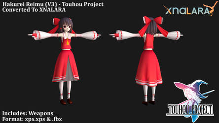 Touhou Project - Hakurei Reimu (V3) XPS by HiGuys920