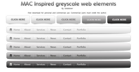 Greyscale web elements by SolidSilver