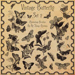 Vintage Butterflies SET 2 Brushes