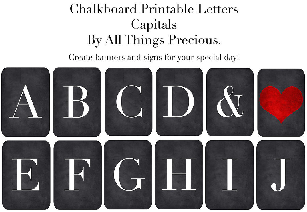 Chalkboard Banner Letters  Capitals  By Allthingsprecious On