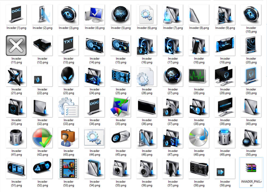 Alienware Invader Icons PNG Full Package
