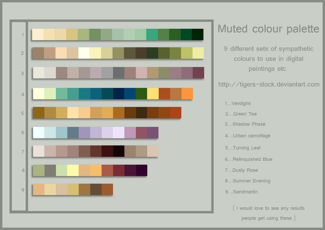 254 colour palette muted by tigers stock on deviantart