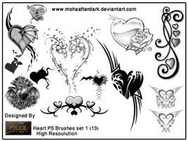 Heart brushes set 1