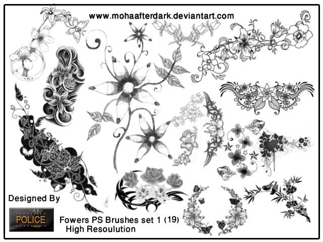 flowers brushes set1