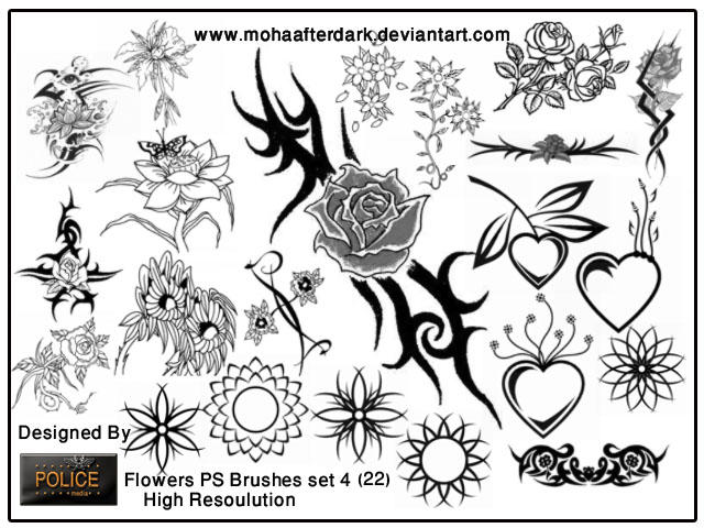 flowers brushes set4 by mohaafterdark