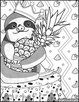 Sloth Coloring Book Page