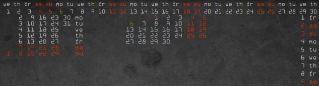 Conky Text Calendar by kit-oz