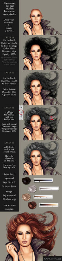 Hair tutorial with brushes