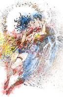 Superman Wonder Woman Splat Colors by Slypstream