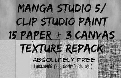 Manga Studio 5 Paper+Canvas  Texture Repack by N3KRoM3KHANIKaL