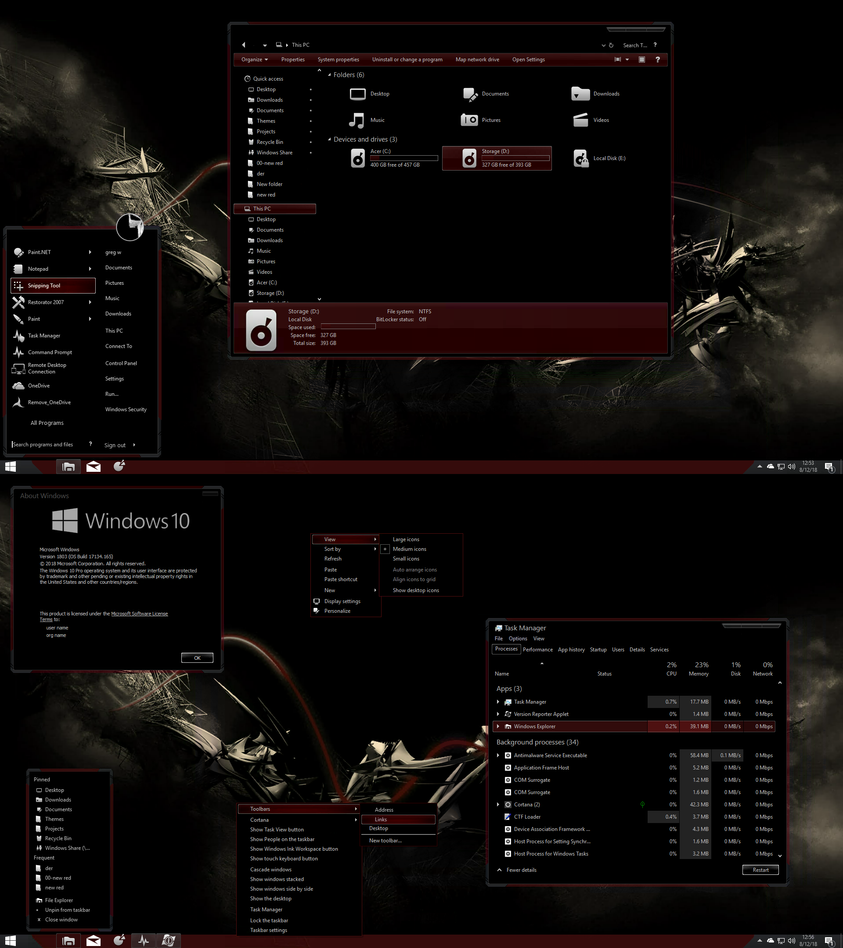 The Red Theme V2 for Windows 10 RS4 by gsw953onDA