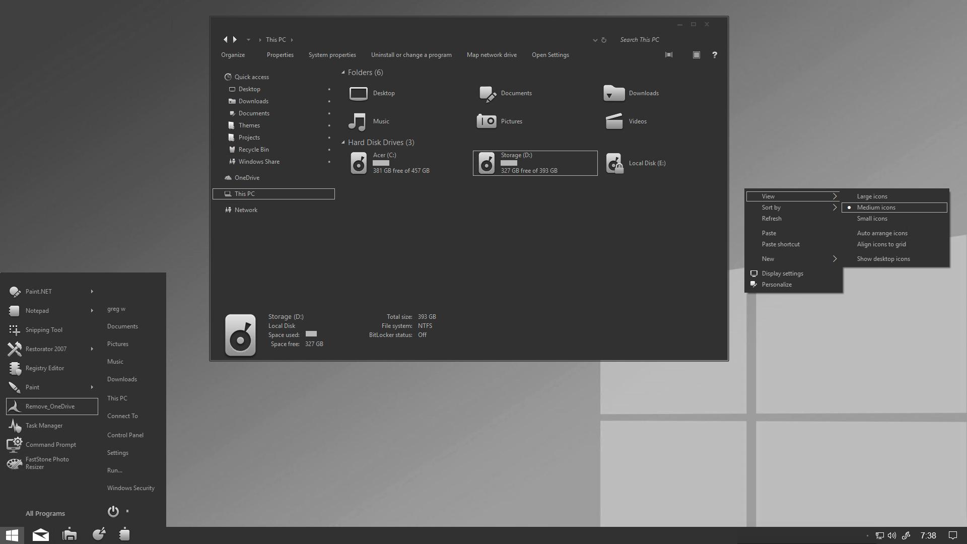Grey mode for Windows 10 -1809 by gsw953onDA