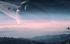 Beautiful View of Saturn by QAuZ