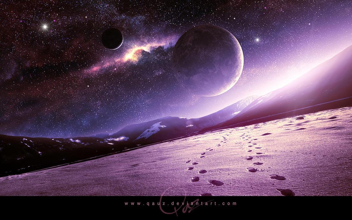 Beautiful Sunrise And Space By QAuZ