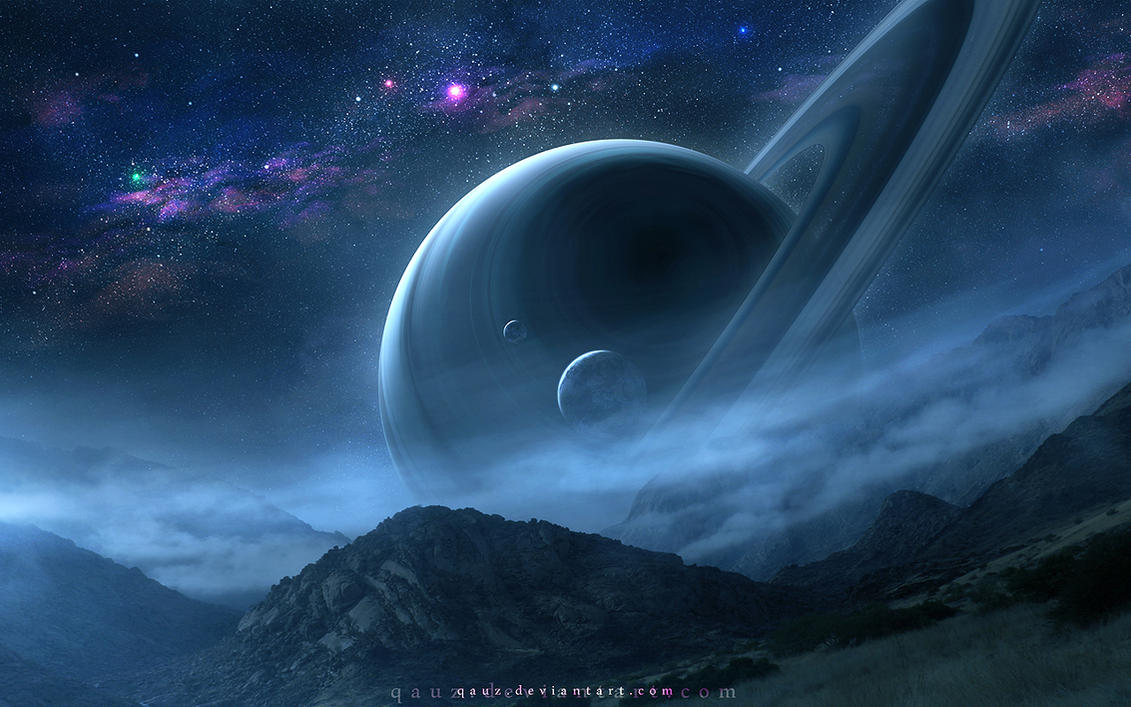 A Night Scene of Saturn by QAuZ