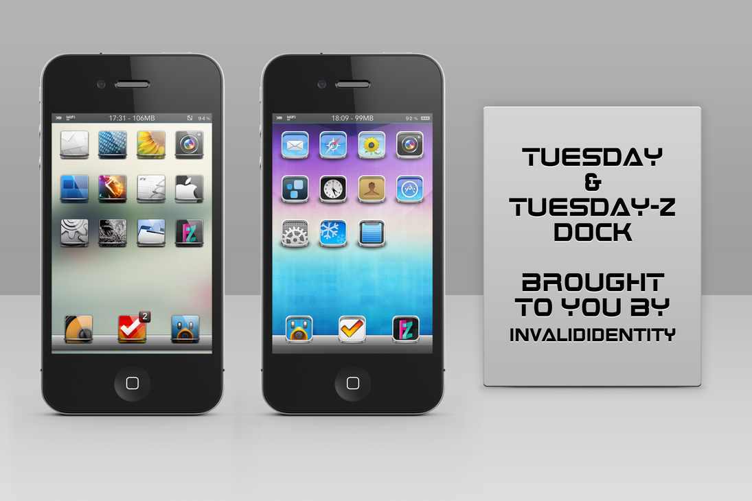 Tuesday and Tuesday-Z Dock iPhone theme by KillingTheEngine
