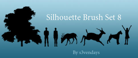 Silhouette Brush Set 8 by s3vendays