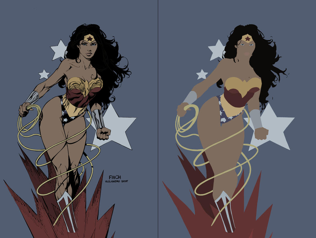 Wonder Woman FLATS - David Finch by XganglyX