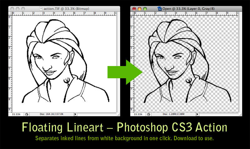 Photoshop Photo Line Art Effect : Floating lineart ps action by majnouna on deviantart
