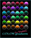 Colorful gradients with a black note.
