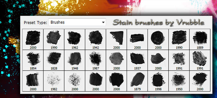 A set of stain brushes for Photoshop.