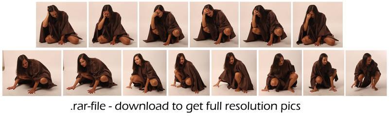 Poncho Girl crouching