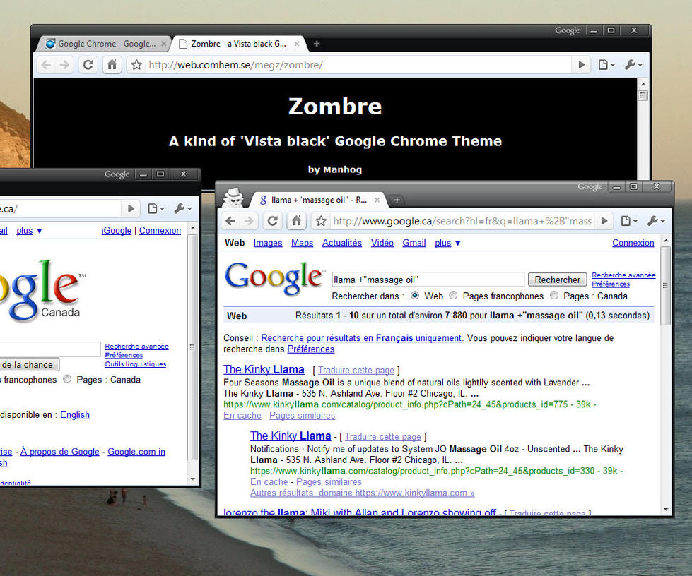 Google Chrome theme - ZOMBRE by Manhog