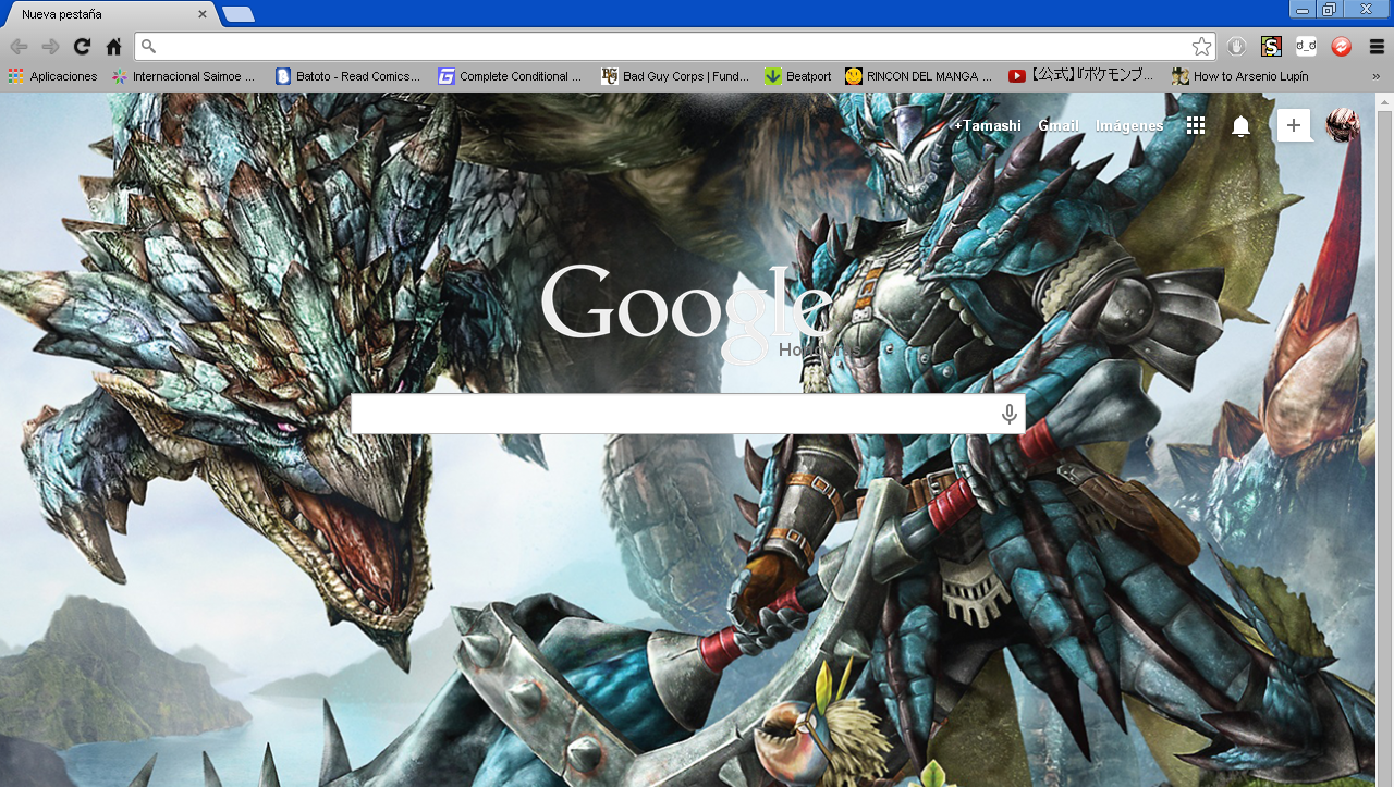 Google chrome themes tokyo ghoul - Monster Hunter 3 Ultimate Google Chrome Theme By Hellfrenzy