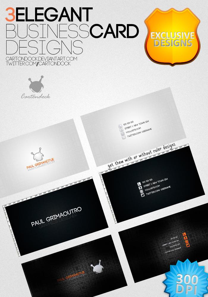 3 Elegant Business Card Designs freebie by UJz