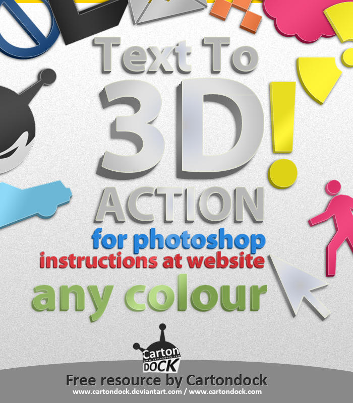 Anything to 3D Photoshop Action Freebie by UJz